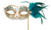 Turquoise and Gold Feather Mask on a Stick